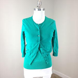 Ann Taylor S p Emerald Green Twin Set Cardgian